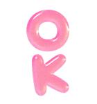 ぷくもじ ピンク(ビッグスタンプ)(個別スタンプ:6)