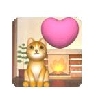 飛び出す 暖炉の前の猫(個別スタンプ:3)