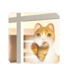 飛び出す 暖炉の前の猫(個別スタンプ:4)