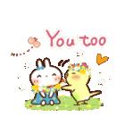 春にやさしいスタンプ【白うさぎ&インコ】(個別スタンプ:4)