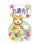 花と猫 BIGスタンプ(個別スタンプ:24)