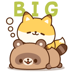 [LINEスタンプ] キュートなたぬきときつね【BIGスタンプ】
