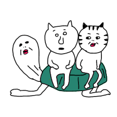 [LINEスタンプ] 猫と亀の友情のスタンプの画像(メイン)