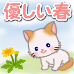 [LINEスタンプ] 優しい春 もふもふしっぽの子猫ちゃん