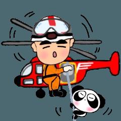 [LINEスタンプ] ぱんだのぴ〜ちゃん♪ガンバレ消防士さん♪