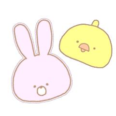 [LINEスタンプ] うさぎ と ひよこ