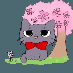 [LINEスタンプ] 黒猫るっか 春スタンプ