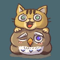 [LINEスタンプ] Bella and JuJu(猫とフクロウ)