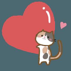 [LINEスタンプ] ほっこりにゃんこ♡三毛猫