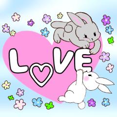 [LINEスタンプ] 可愛い子ウサギたちとパステル色の優しお花