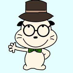 [LINEスタンプ] シルクハットをかぶったメガネ犬