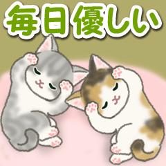 [LINEスタンプ] 毎日優しいもこもこ猫ちゃんズ